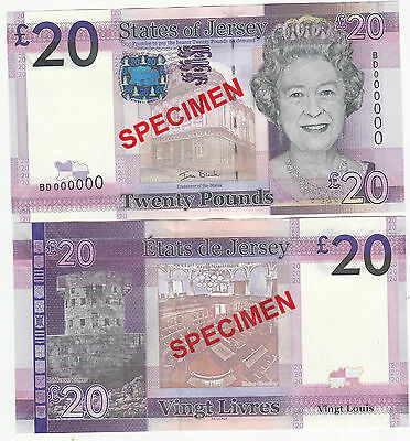 Jersey  Banknote Specimen issues £20 & £50 Pristine UNC condition. Your Choice