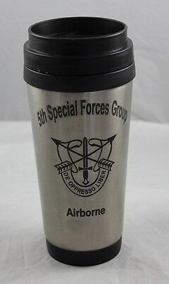 Military logo silver travel mug, Special Forces Group Airborne