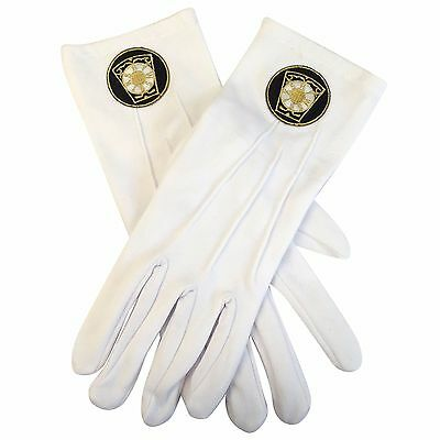 F1076 Mason/Masonic White Gloves with Royal Arch Emblem