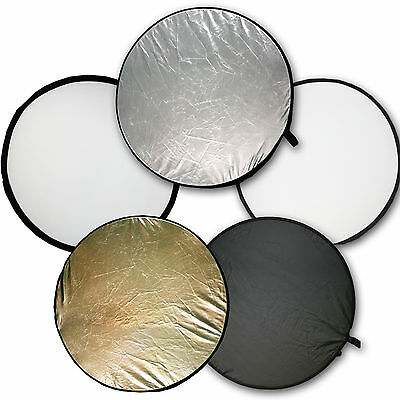 """110cm 42"""" 5-in-1 Light Multi Photo Collapsible Disc Reflector w/Case"""