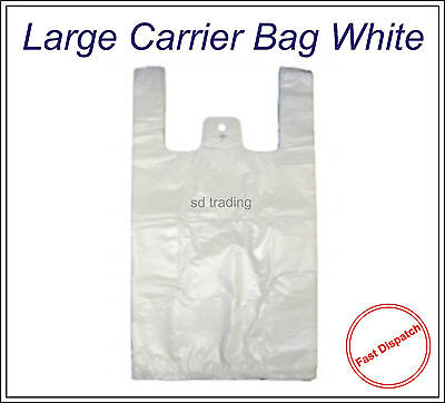 "200 White Large HD Vest Style Plastic Carrier Bags 11"" x 17"" x 21"" 17 Micron"