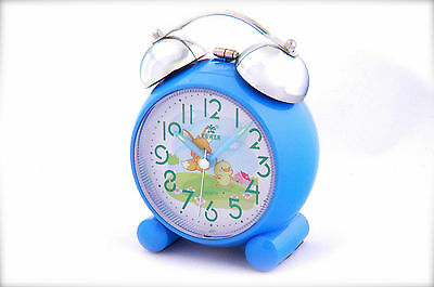Twin Bell Alarm Clock with Tweety Cartoon & Big Numeral Dial Blue Color For Kids