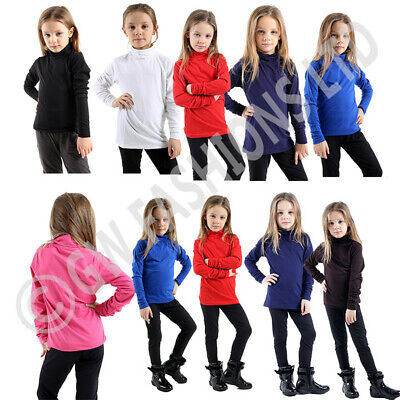 Girls Boys Kids Polo Neck Tops Long Sleeve Plain Basic Roll High Jumper Shirt
