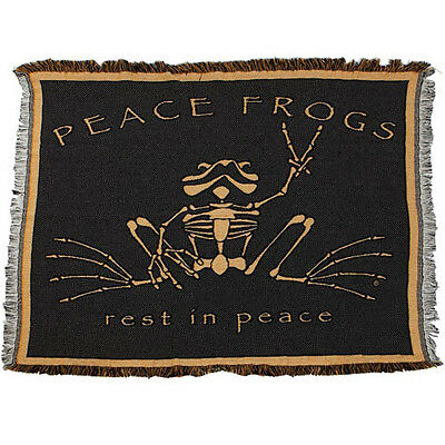 "New Peace Frogs Rest In Peace Rip Afghan 48"" X 68"""