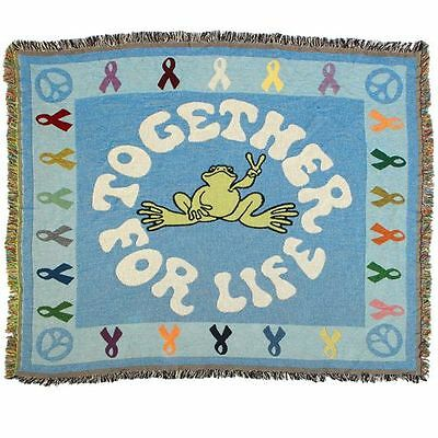 """New Peace Frogs Together For Life Afghan 48"""" X 68"""""""