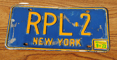 New York License Plate  1973 Blue With Yellow Lettering Rpl-2