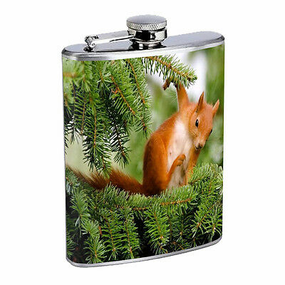 Squirrel D4 8oz Stainless Steel Rodent Fuzzy Cute Nuts Forest Animal