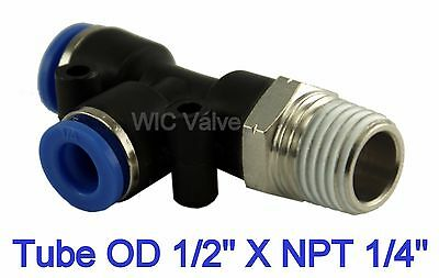 "Pneumatic Run Tee Fitting Tube OD 1/2"" X NPT 1/4"" Push In Air Connector 5 Pieces"