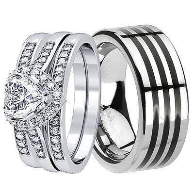 4 Pcs His Hers Tungsten Sterling Silver Heart Wedding Bridal Ring Cz Jewelry Set