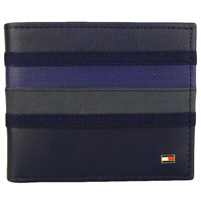 New Men's Tommy Hilfiger Leather Double Bifold Wallet & Valet 31tl130011-cobalt