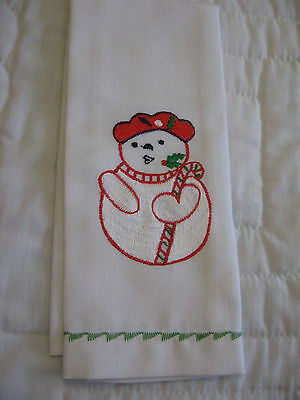 """NEW  Christmas towel with embroidered snowman/11 1/2 x 20"""""""