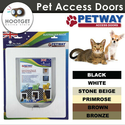 [Small/6 Colours] PETWAY Lockable Flap Pet Dog Cat Door for Security Door Screen