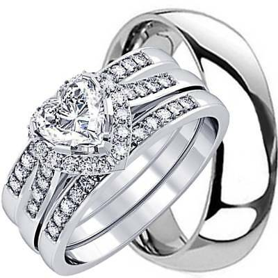 His And Hers 4 Pcs Mens Womens Sterling Silver Solid Titanium Wedding Rings Set