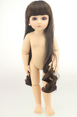"18""/45cm BJD/SD NUDE girl doll plastic cement toy/Blue eyes/Curly hair"