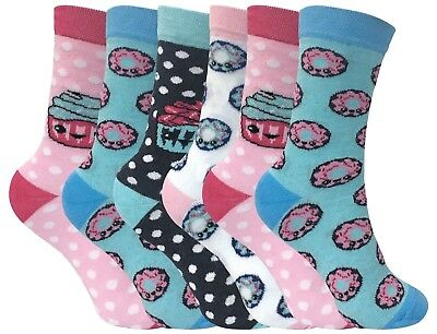 6 Pack of Childrens/Kids Girls Cotton Rich Novelty Cake Shop Socks