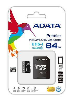 NEW ADATA 64GB Micro SD SDHC SDXC UHS-I Class10 Memory Card Smartphone Tablet