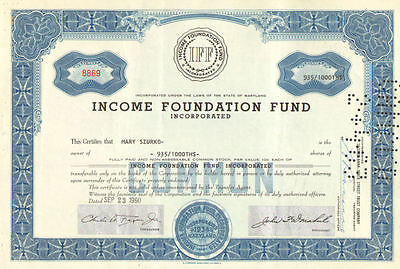 Income Foundation Fund   1960s Maryland stock certificate