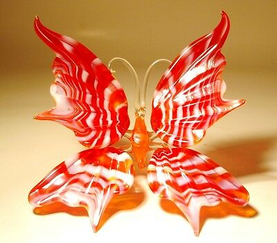 "Blown Glass Figurine ""Murano"" Art Insect Red with White Stripes BUTTERFLY"