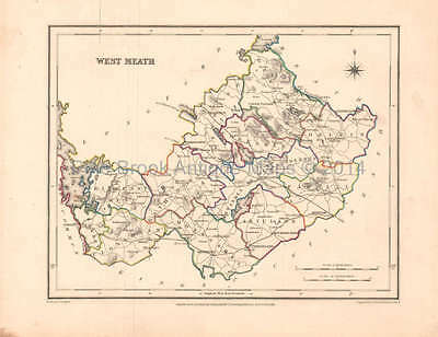West Meath County Ireland Antique Map Lewis 1837 Original