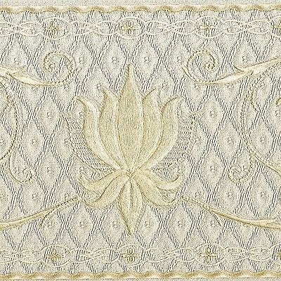 Victorian Gold Metallic Scrolls Ivory Satin - ONLY $9 - Wallpaper Border A199