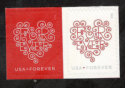 4955-6 Forever Hearts Horizontal Pair Mint/nh FREE SHIPPING