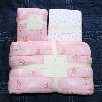 new Pottery Barn Kids karina floral twin quilt, euro sham sheet set 5pc pink