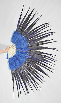 "Marabou & Pheasant  Feather Fan Burlesque perform 29""x 53"" Gift Box,Navy Blue"