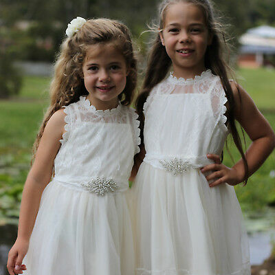 ​ New Flower Girl Dress Princess Vintage Special Occasion  Wedding IVORY Lace