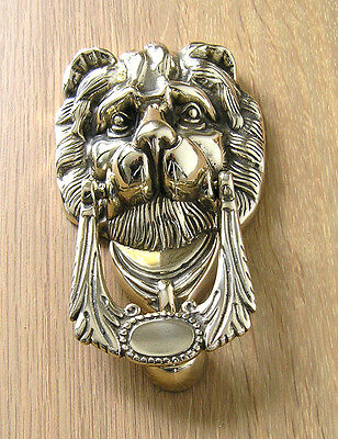 Door Knocker, Brass, Lions Head Design, Crafted in Italy, Polished Finish.