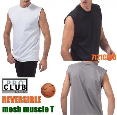 1fe52f971 PRO CLUB Sleeveless Muscle Mesh Tank Top Men's Reversible Wear T Shirts M -  7XL
