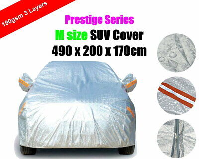 M 3 Layers Car Cover with Zipper SUV Aluminum Rain Dust UV Protection