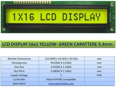 DISPLAY LCD 16x1 GALLO-VERDE SET HD44780 ALTEZZA CARATTERE 9,4 mm