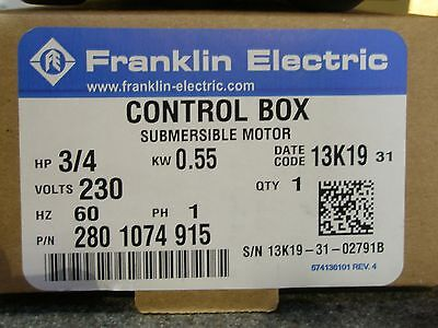 3/4 HP 230V Franklin QD Control Box Submersible Water Pump #2801074915 NEW