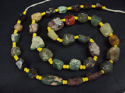 Ancient Fragment Glass Beads Strand Roman 200 BC   #15002