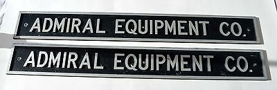 "Pair of Cast Aluminum Signs - Admiral Equipment Co. 24"" X 3"""