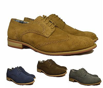 New Men's Brogue Leather Suede Formal/Casual Lace Up Office Oxford Shoes UK 6-12
