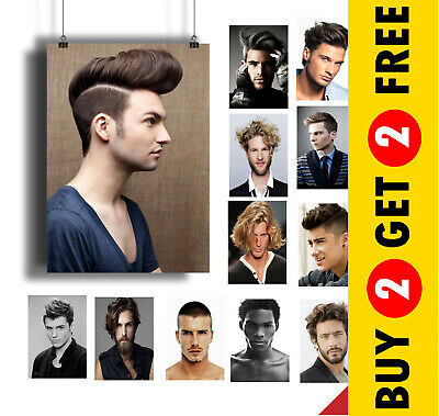 BEST MEN HAIR SALON POSTER COLLECTION A3 / A4* 2015 Men Hairstyle Picture Prints