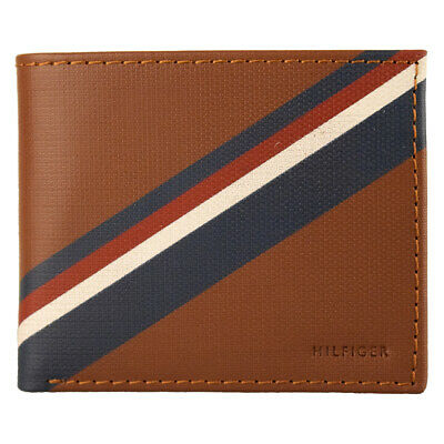 New Men's Tommy Hilfiger Leather Double Billfold Credit Card Wallet 31tl130012 H