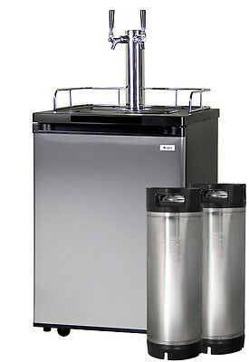 Kegco Homebrew Kegerator Dual Faucet Dispenser Stainless with Two Ball Lock Kegs