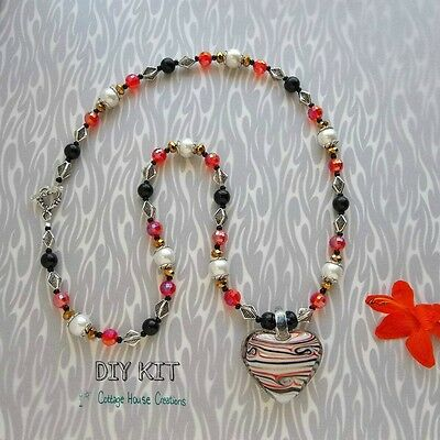 """Sportster """"Murano""""Styled Lampworked Glass Heart Jewelry Making Bead Supply Kit"""
