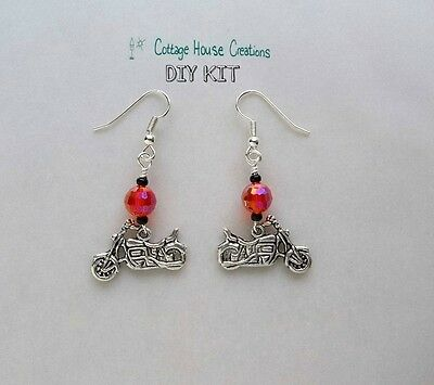 Motorcycle Earring Kit with Instructions for Adult Jewelry Making Beads