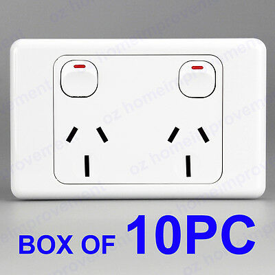 10PC 10A Double Power Points Electrical Wall Sockets Outlet GPO Wall Switch SAA