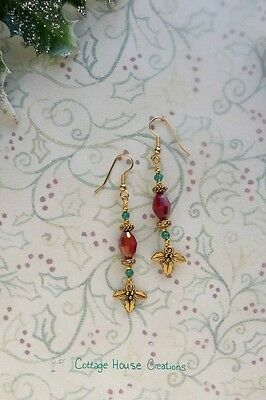 Christmas Holly ~  Earring Kit Jewelry Making Supply Beads DIY  Instructions
