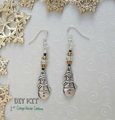 Silver Snowman ~  DIY Jewelry Making Photo Instruction Earring Bead Kit