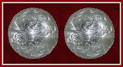 """2 - 3"""" Silver Hand Engraved Western Conchos                       #95"""