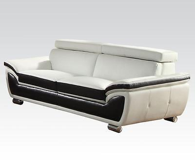 Acme 50145 Olina Contemporary White/Coffee Bonded Leather Match Sofa