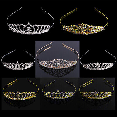Women Crystal Rhinestone Crown Tiara Headband Bridal Bridesmaid Wedding Party