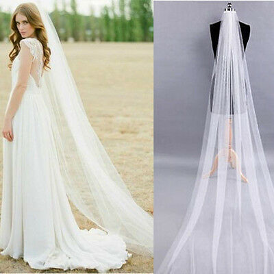 White/Ivory 2M Long Prom Gown Wedding Bridal Veil Cathedral Length With Comb
