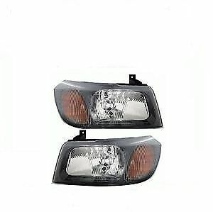 Ford Transit Mk6 2000- 2006 Black Headlamps Headlights Pair Left & Right
