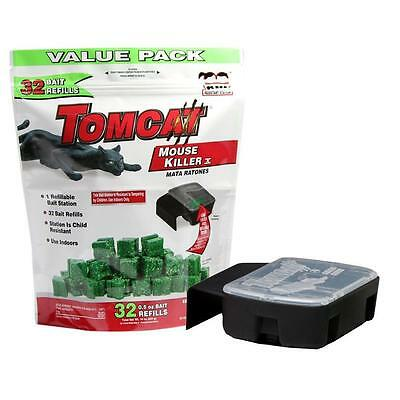 Tomcat Mouse Killer Refillable Bait Station Trap & 32 Block Food Attract Refills
